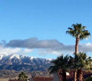 Snowy mountains in California sunshine